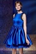 Robe de cocktail / bal bleu électrique courte à jupe bi matière