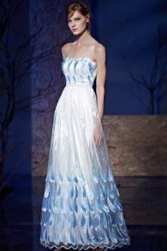 Robe soirée décolleté coeur empire bicolore blanc-bleu appliquée dentelle
