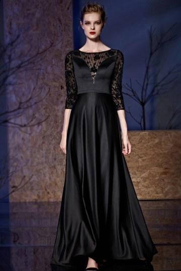 Robe de soirée noire en satin à haut transparent avec manche mi-longue