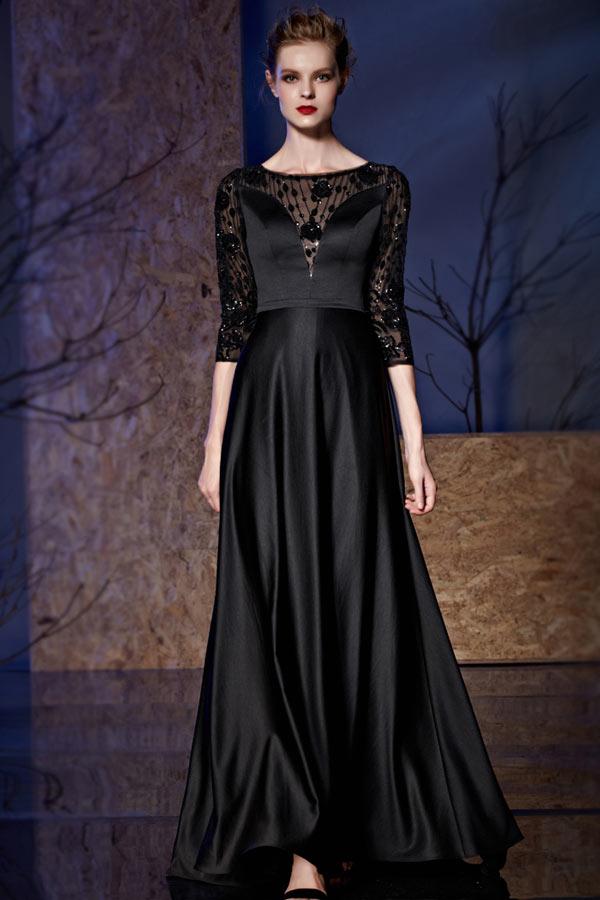 robe de soir e noire en satin haut transparent avec manche mi longue. Black Bedroom Furniture Sets. Home Design Ideas
