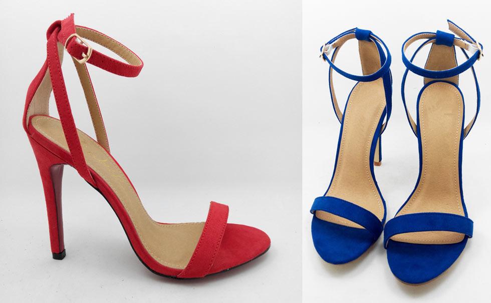 sandales à talons rouge & bleu