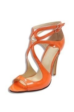 Sandale cuir à talon en couleur orange