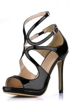 Elégantes Sandales de soirée noires à talons hauts bout ouvert