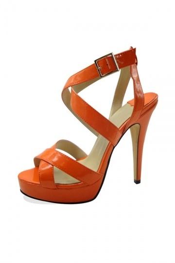 Sandales à brides croisées en orange