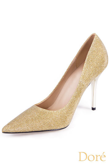 Gold Spitz High Heel Pumps Persun