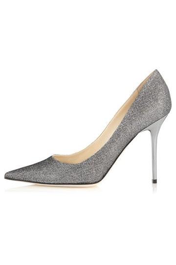Elegant Silber High Heel Spitz Pumps Persun