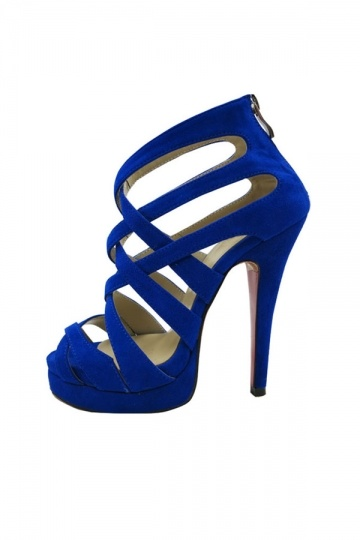 Royal Blue Strappy Roman Heeled Sandals XHM0088 - Persun.cc