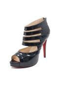 Schwarz Luxus glatt Offener Spitze Sandalen