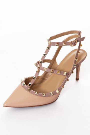 Dressesmall Pink Ankle Strap Studs Sandals