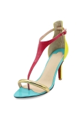 Color Block Sleek T Strap Sandals