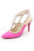 Fuchsia Studded Ankle Strap Sandals