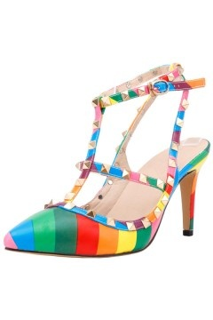 Sandale à clou en bloc couleur arc en ciel