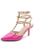 Fuchsia Studded Strappy Sandals