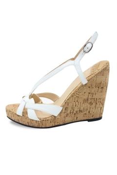 Sandale compensée à brides blaches
