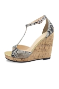Serpentine T strap Peep Toe Wedge Sandals
