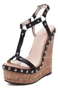 Black Studded T Strap Wedge Sandal
