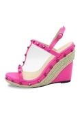 Fuchsia Studded T Strap Wedge Sandal