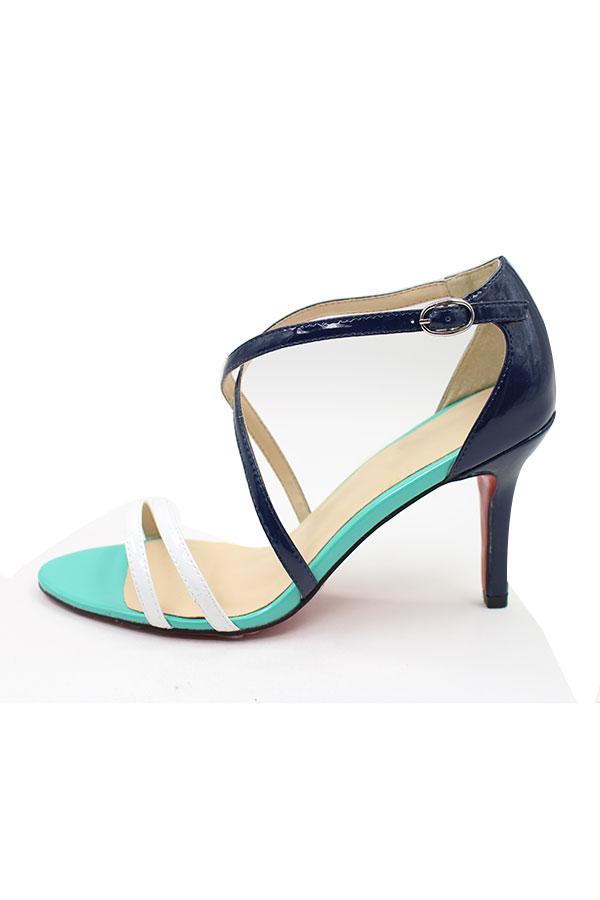 echt Leder 10cm grün-schwarz Schuhe