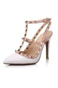 White Ankle Strap Studs Sandals