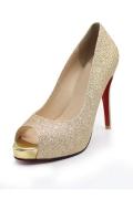 Klassisch Gold Gelänzend Offerne Zehe Sandalen