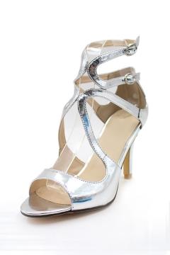 Sandales argentées à talons