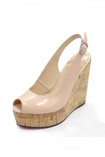 Persun Mall Classic Pink Peep Toe Wedge Sandals