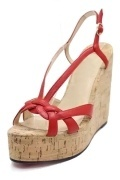 Rot Gewebe Band Keils Sandalen
