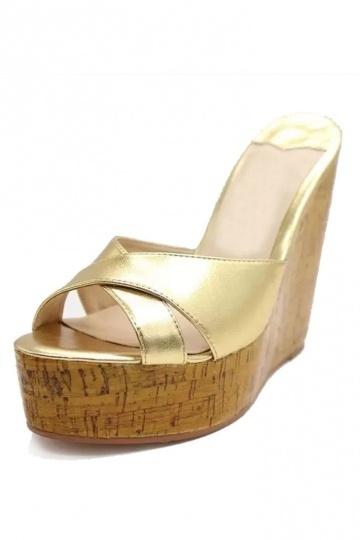 Gold Kreuz Band Keils Sandalen Persun