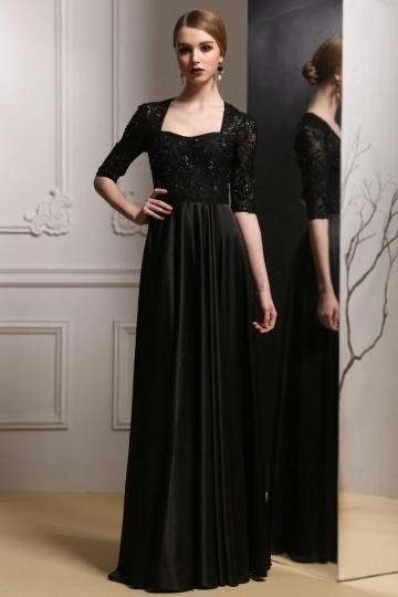 Dressesmall Elegant Half Sleeves Satin Black Evening Dress