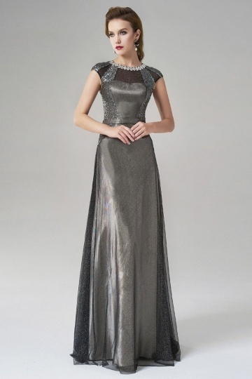 Dressesmall Jewel Cap Sleeves Floor Length Gray Evening Dress