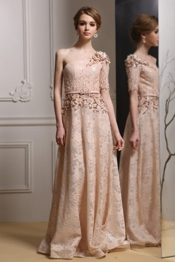 Dressesmall One Shoulder A-line Lace Long Champagne Evening Dress