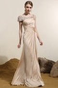 Silk Like Satin Straps Long Champagne Evening Gown