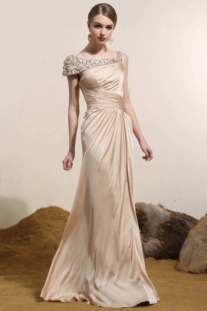 Silk Like Satin Straps Long Champagne Evening Gown ...