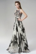 Unique Bateau Sleeveless Chiffon Print Long Gray Evening Dress