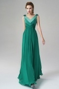 V Neck Sleeveless Chiffon Floor Length Green Evening Dress