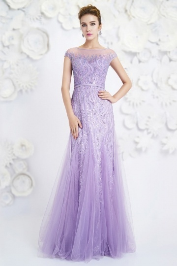 Dressesmall Bateau Tulle Short Sleeves Long Purple Evening Dress