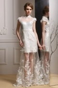 Sexy Stehkragen A-Linie Weiß Spitze Cap-Ärmel Abendkleider