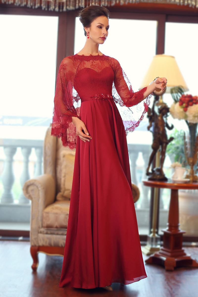 Günstig Extravagant Rot lang A-Linie Silk like Satin ...