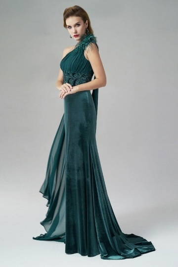 Dressesmall One Shoulder Feather Sheath Ruching Green Evening Gown