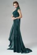 2016 Chic Grün Etui-Linie Ein Schulter Abendkleider aus Velvet