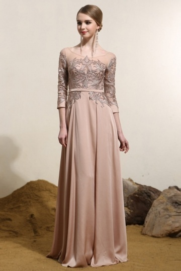 Dressesmall Vintage Bateau Sleeved Satin Long Champagne Evening Dress