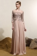 Vintage Bateau Sleeved Satin Long Champagne Evening Dress