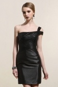 One Shoulder Sequins Satin Little Black Dress