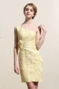 One Shoulder Ruching Flower Lace Yellow Formal Dress