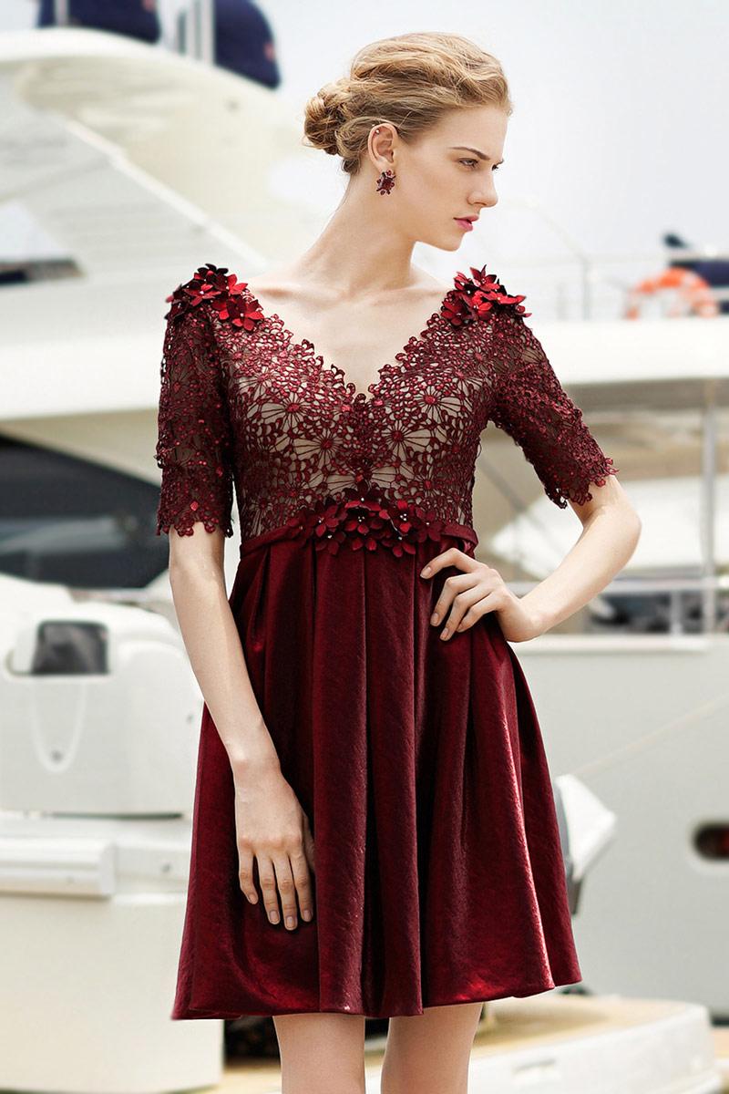 Günstig 2016 Kurz rot V-Ausschnitt A-Linie Abendkleid mit ...