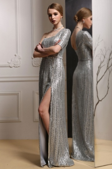 Dressesmall Sequins One Shoulder Split Front Gray Evening Gown