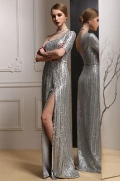 Sexy Ein Schulter Silber Sequins A-Linie Abendkleider
