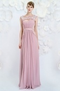Simple A-line Bateau Chiffon Long Pink Evening Gown