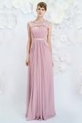 2016 Schön rosa A-Linie Boot-Ausschnitt Abendkleider aus Chiffon