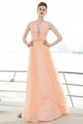 V Neck Sleeveless Tulle Floor Length Orange Evening Dress